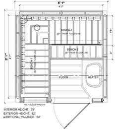 5x5 sauna layout with 3 benches most benches possible in this home sauna plan sauna design. Black Bedroom Furniture Sets. Home Design Ideas
