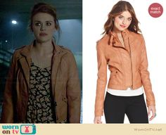 Lydia's peach leather jacket on Teen Wolf.  Outfit Details: http://wornontv.net/34321/ #TeenWolf