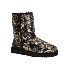 Women's UGG Sierra Sparkles Boot - Black Lined ($175) ❤ liked on Polyvore featuring shoes, boots, black, black shoes, leather heel boots, patent boots, black sparkle boots ve patent leather boots