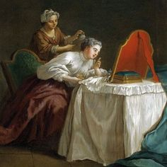 Applying powder with a puff. A lady and her maid, century, circle of Etienne Jeurat. Famous Furniture Designers, 18th Century Costume, Dressing Table, Hair Dressing, Dressing Rooms, Mirror Image, French Art, Portraits, Vintage Pictures