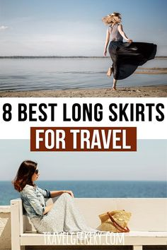 Check out my pick of the best travel skirts that are long. These long skirts with pockets will make not just for a modest travel outfit, but can be so comfortable on the road. See why I recommend long skirts for travel as the key component of your packing list. Both casual and dressy travel skirts for summer or year round (with leggings). Travel skirts - long! You'll use them at home too and even in winter. #travelfashion #outfit #travelskirt #longskirt #travelgeekery