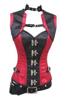 009 Burgundy Red and Black Satin Steel Boned Corset