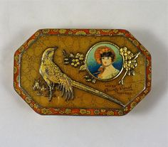 Dainty Dinah Toffees Tin with Embossed Bird and Flowers in Gold