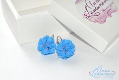Blue floral earrings Bright blue earrings by jewelryLomunovaAnna