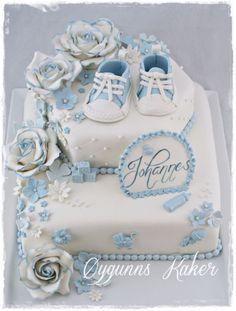 dåpskake gutt - Google-søk Torta Baby Shower, Baby Shower Cakes For Boys, Boy Baby Shower Themes, Baby Boy Shower, Cupcakes, Cupcake Cakes, Fondant Lace, Edible Lace, Cakes For Women