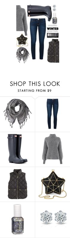 """Winter Essentials"" by hmrodeck ❤ liked on Polyvore featuring Love Quotes Scarves, Frame, Hunter, Warehouse, J.Crew, Aspinal of London and Essie"