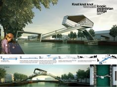 Winners of [AMSTERDAM] Iconic Pedestrian Bridge | Drawing courtesy AC-CA| Honorable Mention