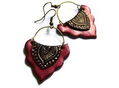 Gypsy lotus earrings tribal jewelry mehndi by MoonsafariBeads, $18.00