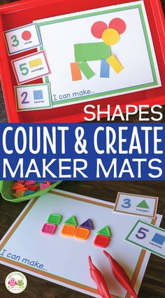 Combine a counting activity with a shape matching activity with an art activity. Kids will love this hands-on shape counting and creating activity. Perfect for your math center or math work station, fine motor center, or maker space in preschool and pre-k. Preschool STEAM and hands-on math activity can be used with play dough to create 3-D designs and can be used as a fine motor activity. shape identification, 2-D shapes, shape activities