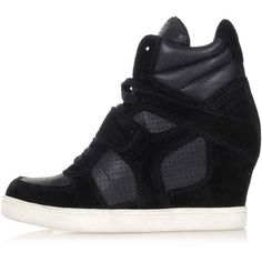 ASH COOL BIS Leather wedge sneakers ($175) ❤ liked on Polyvore featuring shoes, sneakers, black, black trainers, round cap, black shoes, wedge sneaker shoes and black wedge sneakers