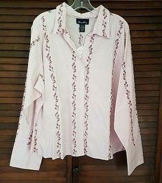 Women's Denim & Co Pink Lavander Flower Emboidered Long Sleeve Shirt Plus 2X