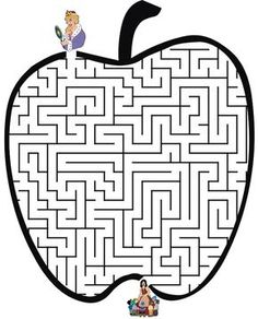 This apple shaped maze based on Snow White is a fun printable fairy tale worksheet puzzle for preschool or grade school kids. Apple Activities, Preschool Activities, Printable Mazes, Printables, Christmas Maze, Cardboard Crafts Kids, Apple Images, Mazes For Kids, Apple Unit