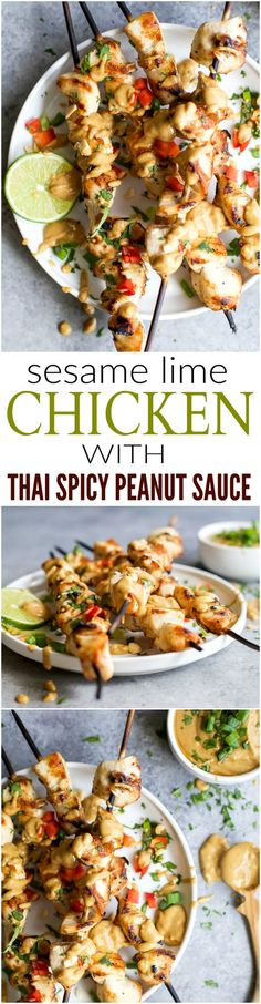 healthy food recipes chiken dinner cooking Grilled Sesame Lime Chicken served with a homemade Spicy Thai Peanut Sauce made in less than 40 minutes. Yall, Im warning you just make a double batch of the sauce. Asian Recipes, Healthy Recipes, Ethnic Recipes, Healthy Foods, Free Recipes, Turkey Recipes, Chicken Recipes, Sauce Recipes, Grilling Recipes