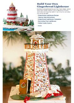 2 Gingerbread Lighthouses. Via Coastal Living. The recipe and directions are straight from their test kitchen. Featured here: http://www.completely-coastal.com/2011/12/coastal-mix-unique-christmas-trees.html