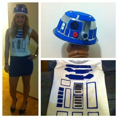 DIY R2D2 Halloween Costume Bowl from the dollar store with foam pieces and painted things from around the house. T shirt with cut blue duct tape.