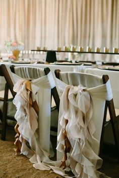 Romantically dressed with a ruffle down the back, these chairs are an elegant accent for any event table