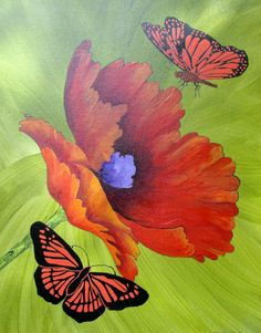 "Poppy & Butterfly Art - ""Flight of the Butterflies"" - Painting by Lorraine Skala - Visit my Etsy Shop to purchase notecards & prints Butterfly Acrylic Painting, Butterfly Art, Watercolor Drawing, Watercolor Flowers, Love Art, All Art, Green Scenery, Flower Pictures, Beautiful Butterflies"