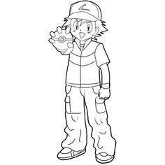 How to Draw Ash Ketchum from Pokemon : Step by Step Drawing Lesson - How to Draw Step by Step Drawing Tutorials Eagle Drawing, Boy Drawing, Drawing For Kids, How To Draw Ash, How To Draw Steps, Detailed Coloring Pages, Coloring Pages For Kids, 30 Day Art Challenge, Pokemon Game Characters