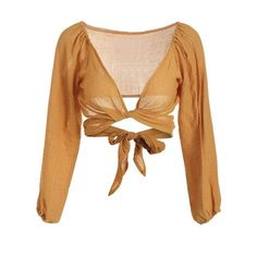 Self Tie Plunging Neck Crop Blouse (€18) ❤ liked on Polyvore featuring tops, blouses, crop top, shirts, shirt blouse, beige shirt, plunge-neck tops and plunging neckline shirt