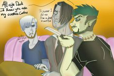 Mark has lost most of his friends. Now that Dark has finally showed himself, it's time to get those friends back. Markiplier, Pewdiepie, Antisepticeye Fanart, Septiplier Fanart, Darkiplier And Antisepticeye, Youtube Drawing, Danti, Jack And Mark, Youtube Gamer
