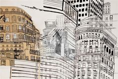 """""""Now-and-Then"""" by Cristina Guerreiro Cardboard City, Original Art, Original Paintings, Sense Of Place, Architectural Features, Urban Sketching, Online Painting, Patterns In Nature, Urban Landscape"""