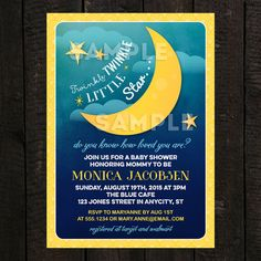 Twinkle Twinkle Little Star Printable Baby Shower or Birthday Invitation, Moon Invitation -- Any Color