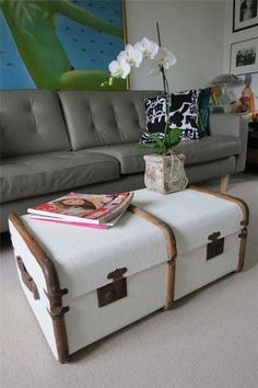 Unusual White Vintage Shabby Chic Steamer Trunk Chest Coffee Table | eBay £137