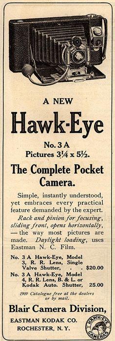 """1909 """"Saturday Evening Post"""" ad for Hawk-Eye cameras by Kodak."""