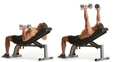dumbbell incline press  Repetitions: 12,10, 8, 6, 12, 12