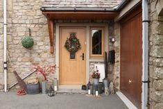 Country farmhouse composite door with christmas wreath