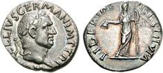 Silver coin of Emperor Vitellius. He reigned in 69 AD (8 months).