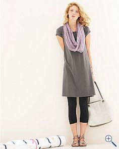 Eileen Fisher Organic Cotton Knit Ballet-Neck Dress from Garnet Hill #summerstyle