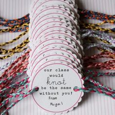 Friendship Bracelet Printable {School Class Gift}--always find things too late. This would've been great with my bracelets