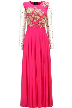 Pink floral jaal embroidered anarkali set available only at Pernia's Pop-Up Shop.