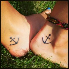 Matching ankle anchor tattoo for me and my sis...refuse to sink