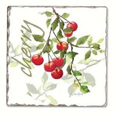 Counter Art CART11724 Julies Cherries Single Tumbled Tile Coaster *** Want to know more, click on the image.