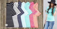 Amazing for pairing with all of your daily wear, our Stripes Ahoy Tee are a girl's best friend! These stretchy and comfortable boat neck tops, with their medium weight and 3/4 length sleeves, make for the ultimate spring staple! Topped off with a slender fit and classic horizontal stripes, this piece is one that you can layer, or wear on its own. Add to a sophisticated look when you pair one with a blazer and ballet flats!Colors Available: Navy/White Heather ...