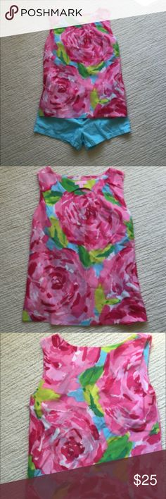 Lilly Pulitzer Rose Tank Top Shell XS EUC silk cot Lilly Pulitzer tank top or shell. Beautiful and surprisingly versatile. Real silk look - 59/41% silk/cotton. Casual or dressy with nice pleats on front - left - look closely! Listing excellent clothing, adults through kiddos, soon! Nonsmoking home, not returns. I try to list things at prices I'd be psyched to snatch up at a nice second hand shop. Lilly Pulitzer Tops Tank Tops