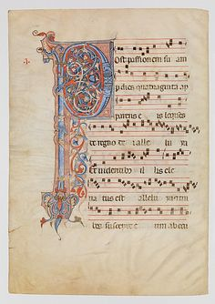 Manuscript leaf from an antiphonary  Date:    ca. 1250–60  Geography:    Made in, possibly Arezzo, Italy  Culture:    Italian  Medium:    Tempera, gold and silver leaf, and ink on parchment  Dimensions:    Overall: 20 1/2 x 14 5/16 in. (52 x 36.3 cm) letter: 14 15/16 x 4 3/4 in. (38 x 12 cm) mat size: 29 x 23 1/16 in. (73.6 x 58.5 cm)  Classification:    Manuscripts & Illuminations  Credit Line:    Gift of Louis L. Lorillard, 1896, transferred from the Library