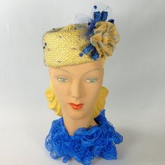 b9f9e79f4079 Items similar to Yellow & Blue Pillbox Hat - Hand Blocked and Sewn from  Vintage Straw Hood-Ribbon Flower - Veiling - Straw Accents - Church -  Wedding on ...
