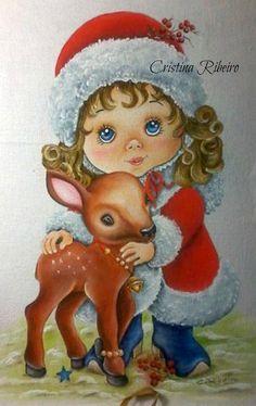 Loucos por pintura - Aulas de pintura em tela e tecido: Esta menininha está prontinha para o natal!
