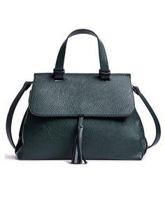 sac classiquesac en cuir vert pompon la fe maraboute 109