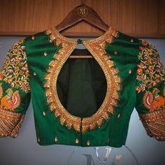 Stunning bottle green color designer blouse with floret lata design and swan design hand embroidery gold thread work. Wedding Saree Blouse Designs, Pattu Saree Blouse Designs, Sambalpuri Saree, Lehenga, Sari, Blouse Designs High Neck, Stylish Blouse Design, Anarkali Dress, New Dress