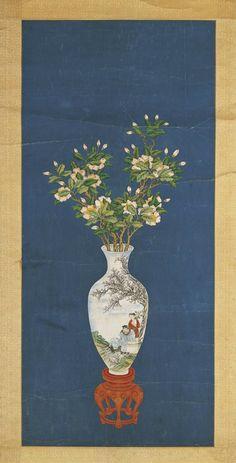 Zou Yigui (鄒一桂) , 茶花图 Japanese Painting, Chinese Painting, Chinese Art, Asian Flowers, Chinese Flowers, Flower Bird, Gravure, Ancient Art, Asian Art