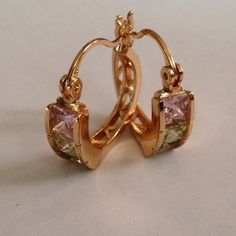 Earring Beautiful hoop earring colorful CZ and 18k gold plated jewelry.(NEW) No Trades. No Holds. No PayPal. Jewelry Earrings