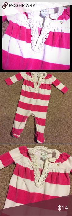 RL Pink and white striped footie Footie with ruffled collar and buttons. Snaps at inseam. Ralph Lauren One Pieces Footies