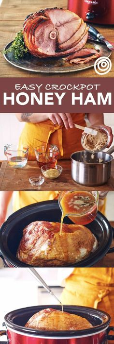 How to Make Thanksgiving Christmas Easter Honey Ham in the Slow Cooker a Step-by-Step Recipe. Use your crockpot to make hosting a holiday EASY! Your crock pot always has your back and this method proves it. It keeps it moist and tender Perfect to mak Crock Pot Recipes, Pork Recipes, Slow Cooker Recipes, Cooking Recipes, Recipies, Baked Ham Recipes, Honey Recipes, Honey Ham Recipe, Crockpot Ideas