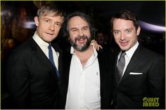 Martin Freeman, Director Peter Jackson & Elijah Wood at Premiere of The Hobbit An Unexpected Journey at the Ziegfeld Theatre in New York City (6-12-12) Thursday