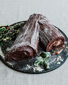 """Chocolate Nutella Yule Log Cake from Jane Hornby's book """"What To Bake & How To Bake It"""" #SweetPaul"""