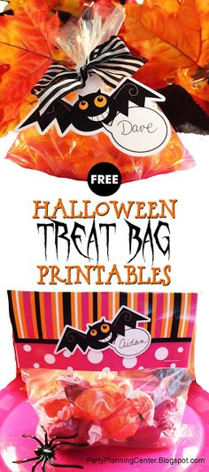 "FREE ""Demented Bat"" Printable Halloween Trick or Treat Bag Tops and Labels Halloween Crafts To Sell, Halloween Activities For Kids, Spooky Halloween Decorations, Halloween Party Favors, Halloween Desserts, Halloween Trick Or Treat, Easy Halloween, Halloween Treats, Holiday Crafts"